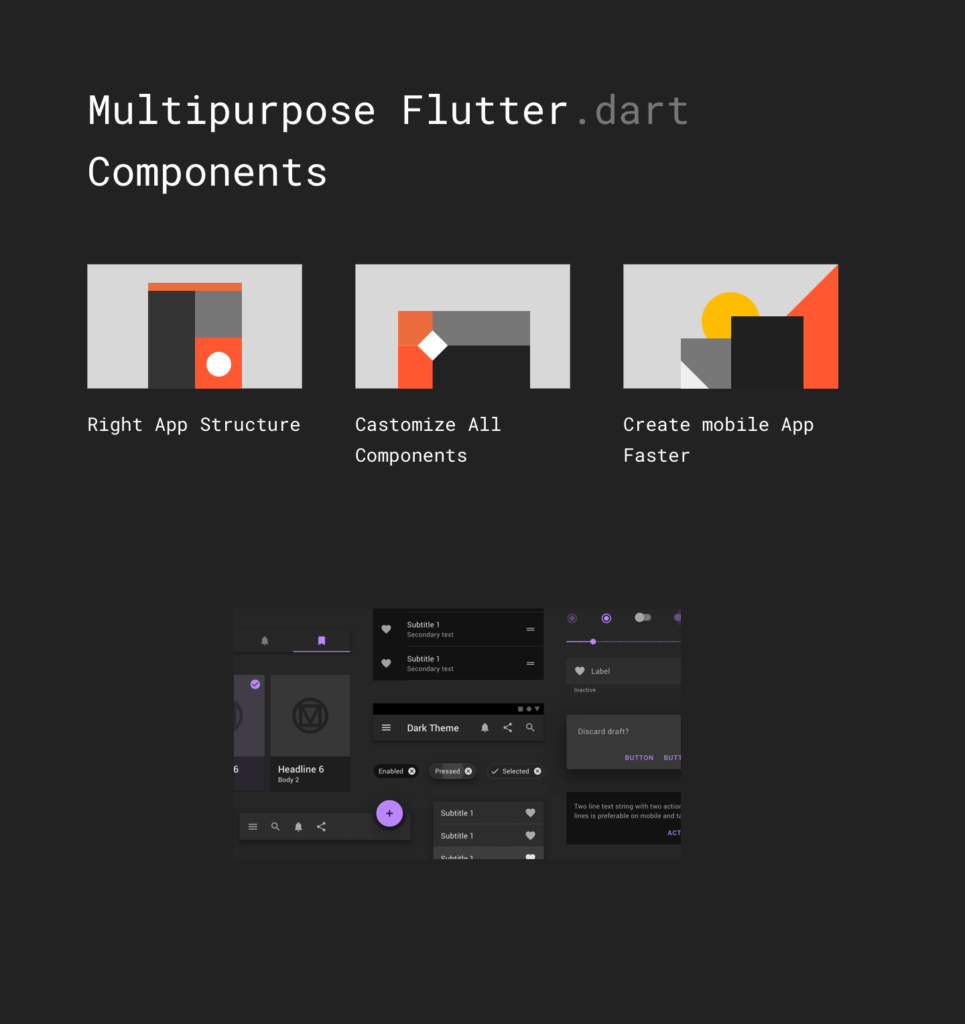 Material Design Flutter Template Components and Widgets