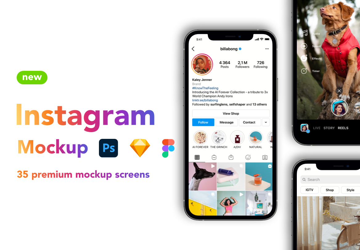 Instagram Mockup Redesign – Download: PSD, Sketch, Figma
