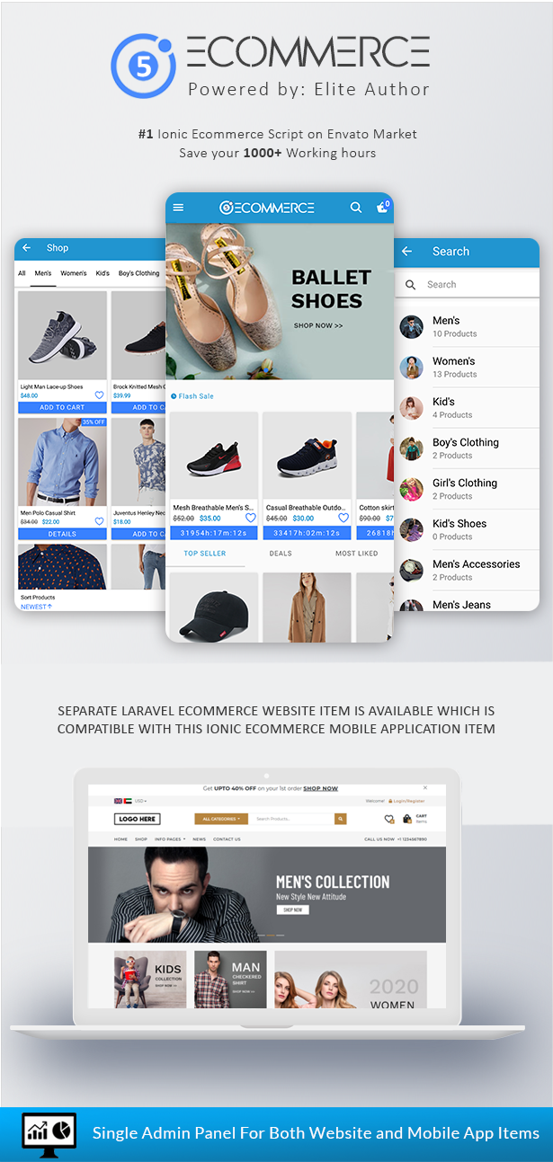 Ionic5 Ecommerce - Universal iOS & Android Ecommerce / Store Full Mobile App with Laravel CMS - 2
