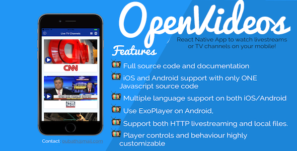 OpenVideos – React Native App (Android/iOS) for TV Channels and livestreams