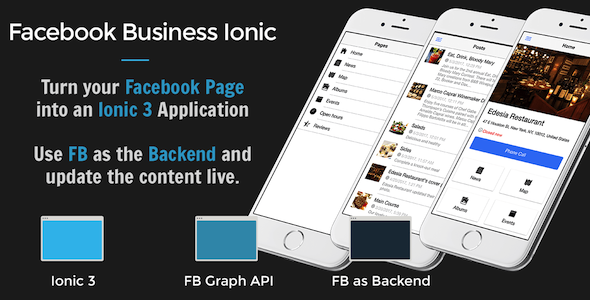 Facebook Business Ionic 3 – Turn your Facebook page into a mobile app