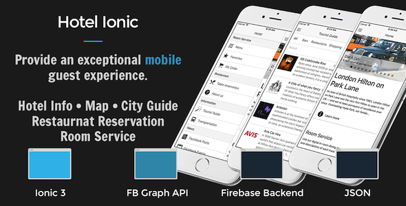 Hotel Ionic – Full Application with Firebase backend