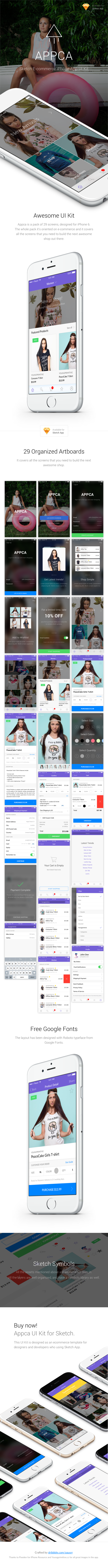 Appca – Ecommerce UI Kit for Sketch App