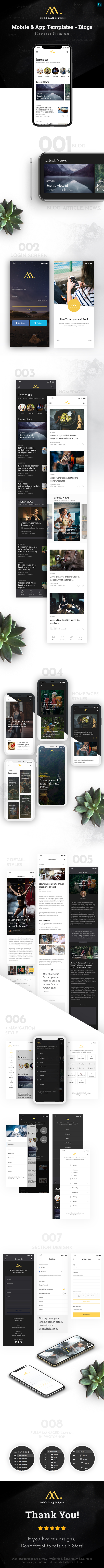 Mobile & App Templates - Blogs in Photoshop - 1