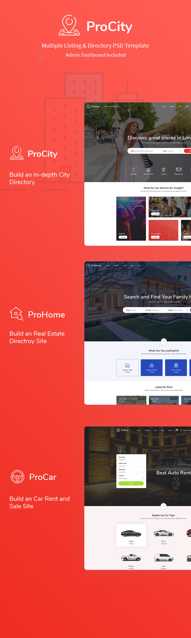 Procity - Multiple Listing & Directory PSD Template - 1