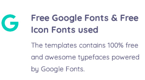 Free Google Fonts and Icon Fonts used