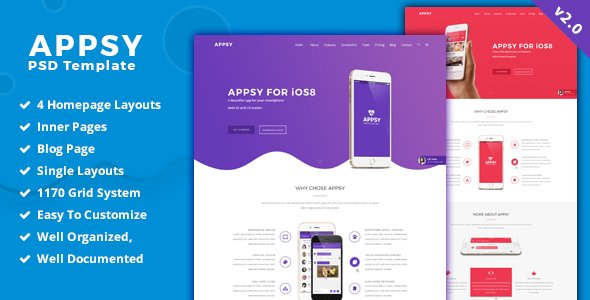 APPSY – App Landing Page  PSD Template