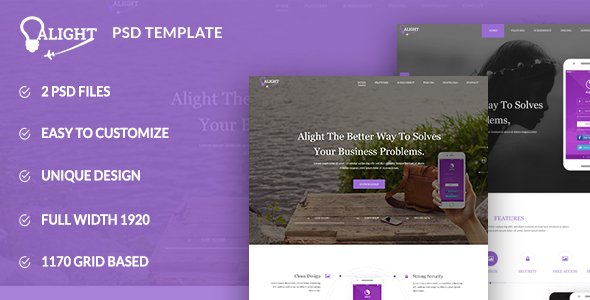 Alight – Apps Landing PSD Template
