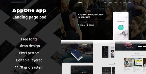 AppOne app Landing page PSD Template