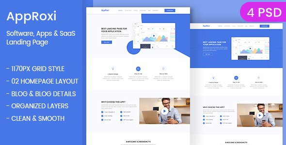 AppRoxi – App, Software & SAAS Landing Page PSD Template