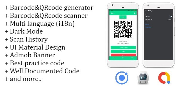 Barcode&QRcode Generator and Scanner application IONIC 4, Material design, Admob banner