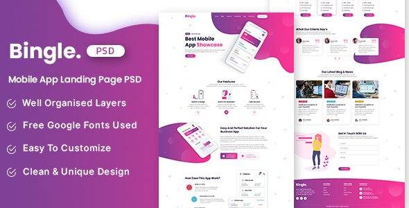 Bingle – Mobile App Landing Page PSD Template