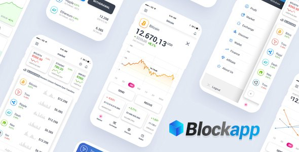 BlockApp – Crypto Currency Mobile App PSD Template