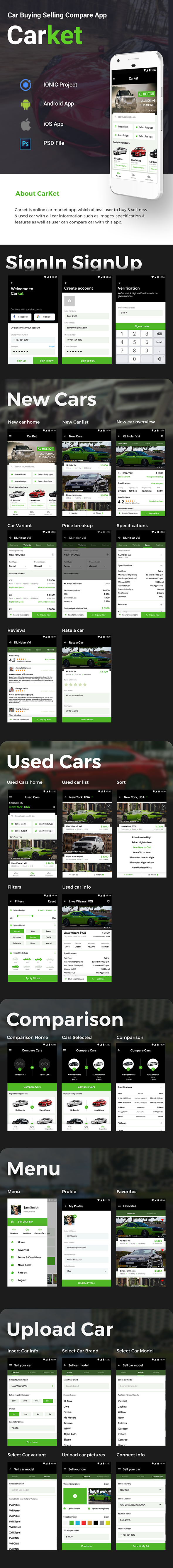 Car Buying and Selling Android App + iOS App Template | HTML + Css IONIC 3 | CarKet - 2