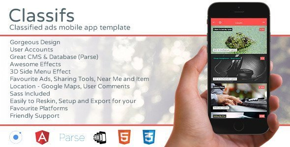Classifs – Classified Ads Mobile App Template
