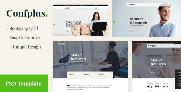 Confplus- Business Consulting and Professional Services PSD Template