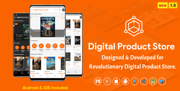 Digital Download Products Store For eBook, Video, Photo (Using Flutter For iOS and Android) 1.5