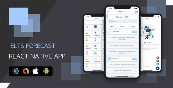 English Learning App – IELTS Test/Quiz Forecasting – Full React Native Mobile App with Backend