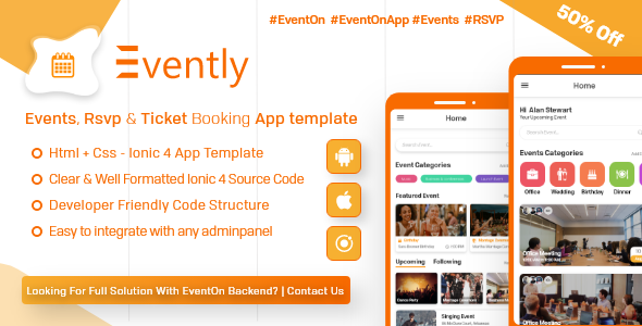Evently – Event Calender Mobile App Template for EventOn ( HTML – CSS – Android – IOS – IONIC 4)