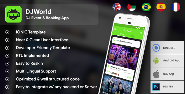 Events App| DJ App| Android Template + iOS Template| IONIC 3 | DJWorld| Ticket Booking App
