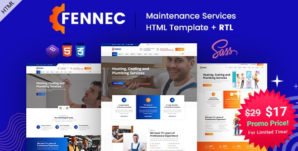 Fennec – Repair & Maintenance Services HTML Template