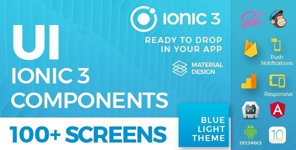 Ionic 3 UI Theme/Template App – Material Design – Blue Light
