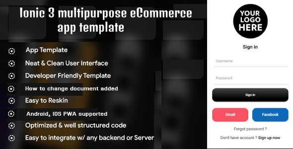Ionic 3 multipurpose eCommerce app templates (Android – IOS)