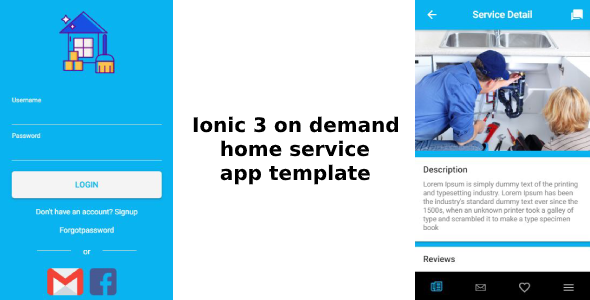 Ionic 3 – on demand home – office service app template (Android – IOS)