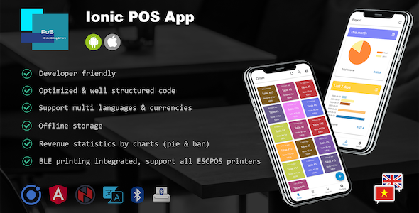 Ionic POS App – Manage Orders, Menu Items & Print Bills