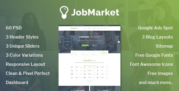 JobMarket – Job Portal PSD Template (Multipurpose)