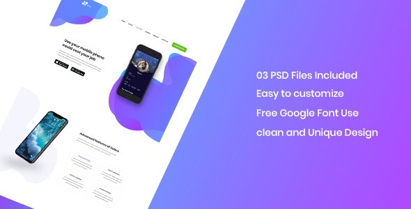 Kabus – clean and modern app landing page PSD template