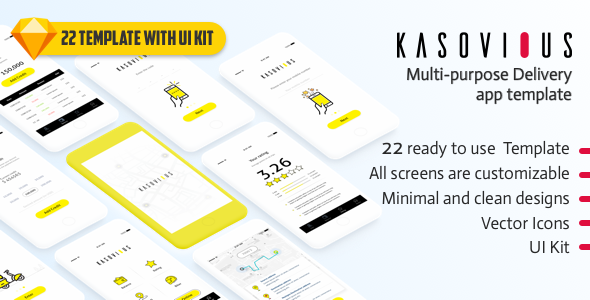 Kasovious iOS delivery app UI kit – 20+ App Screens for Sketch