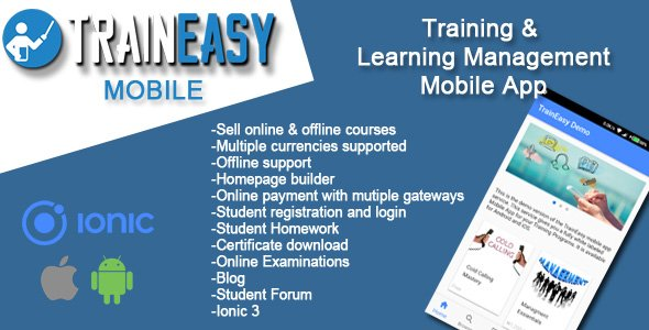 Learning Management System Ionic 3 App – TrainEasy