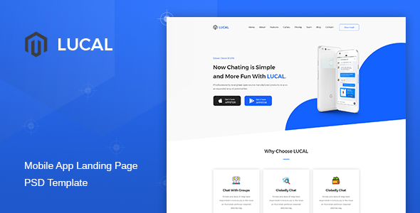 Lucal – Mobile App Landing Page PSD Template