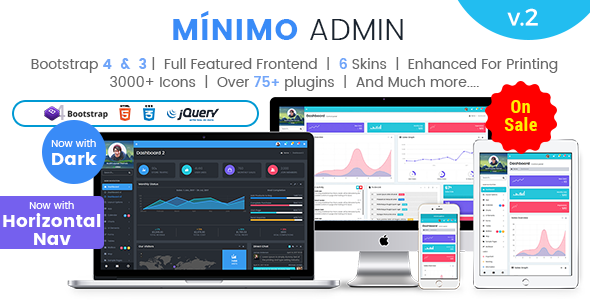 Minimo Pro – Responsive Bootstrap 4 & 3 Admin Dashboard Template