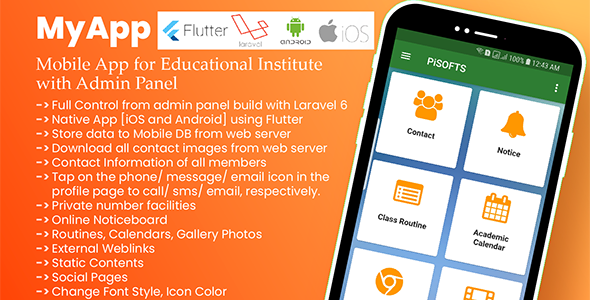 MyApp – Mobile App for Educational Institute with Admin Panel