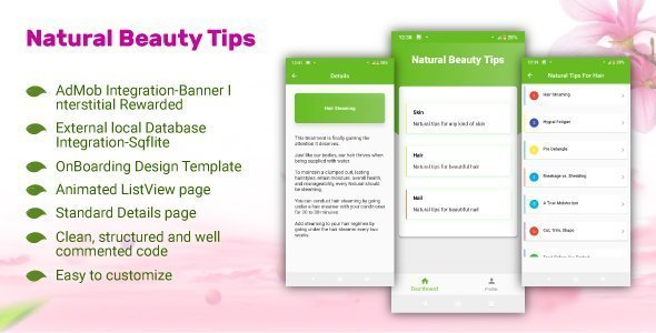 Natural Beauty Tips-Flutter App Using AdMob Sqlite OnBoard Both Android and IOS