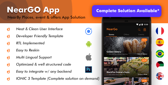 NearBy Places Android App Template+ NearBy Place iOS App Template| NearGo (HTML+CSS IONIC 3)