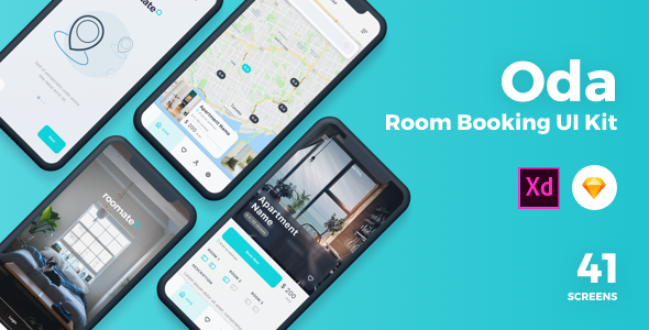 Oda – Room Booking Sketch UI Kit