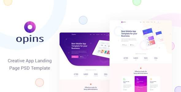 Opins – Creative App Landing Page PSD Template