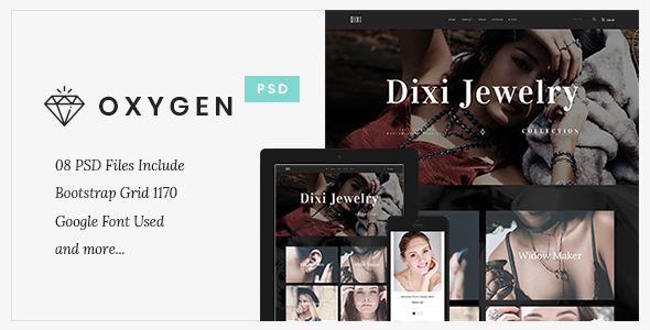 Oxygen Jewelry Ecommerce – PSD Template