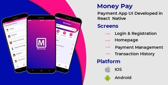 Payment App Template with React Native – Mobile Android and iOS compatible
