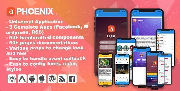 Phoenix – Full multipurpose React-Native Application & UI Component