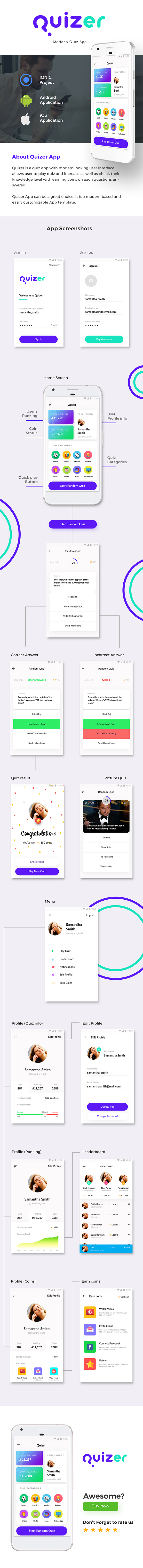 Quiz Android App Template + Quiz iOS App Template (HTML+CSS files IONIC 3) | Quizer - 2