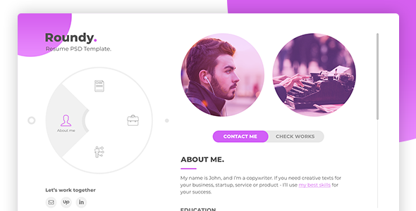 Roundy – Personal Resume / CV / Vcard PSD Template