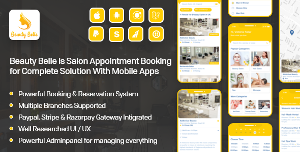 Salon & Spa Appointment Booking App For Android – iOS App with admin panel – Beauty Belle