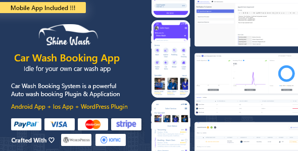 Shinewash – Car Wash Booking System For WordPress with mobile apps android + Ios + WordPress Plugin