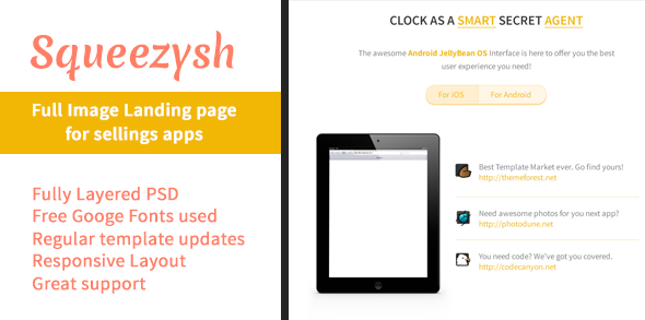 Squeezysh – PSD Landing Page