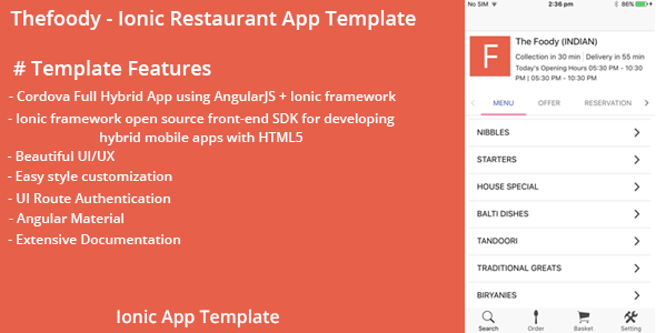 Thefoody – Ionic Restaurant App Template