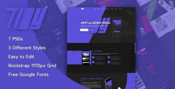 TiDY – Mobile App Landing Page Design – PSD Template